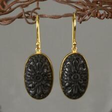 18K Gold Vermeil over Sterling Silver Hook Earrings & Black Buffalo Horn 4.40 g