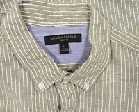 Mens Banana Republic Linen Blend Slim Fit Striped Button Shirt Size L Large