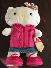 White Hello Kitty Build-A-Bear 16 Inch Stuffed Animal Bow Necklace Outfits
