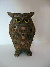 "Vtg Mid Century Cryptomeria Wood Carved Bumpy Owl Japan Glass Eyes MINT 3.5"""