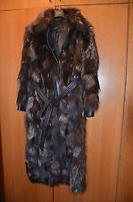 ESCADA woman brown fur coat with leather GORGEOUS rarely worn