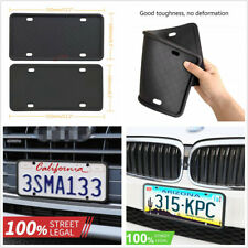 Black 2Pcs Universal Silicone Rubber US License Plate Frames Front+Rear Holder