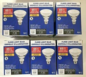 6 NEW Indoor Soft White Flood Light Bulb Medium Base BR30 65W 130V Dimmable