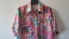Women's HATTIE CARNEGIE S 100% Silk Casual Short Sleeve Floral and Fruit Design