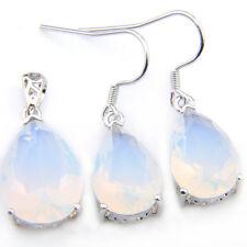 Drop Jewelry Set 2 Pcs Rainbow Moonstone Gems Silver Necklace Pendant Earrings