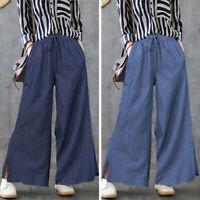 Mode Femme Pantalon en Jean Casual lâche Ample Bande élastique Jambe Large Plus