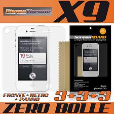 9 X PELLICOLA per IPHONE 4 IPHONE4 4S 4 S 4G APPLE FRONTE + RETRO + PANNO