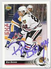 ROB BROWN CHICAGO BLACKHAWKS 1993 UPPER DECK  AUTOGRAPHED HOCKEY CARD JSA