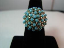 Vintage Victorian 14 Kt Yellow Gold Persian Turquoise Cluster Dome Flower Ring