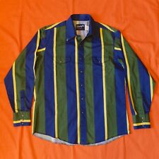 Vintage Wrangler Striped Pearl Snap Western Shirt Size L Cowboy Rodeo Rancher