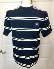 AMERIGO VESPUCCI Mens Striped Short Sleeve Sailing Shirt Top Blue White Red M L