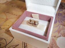 Original echte Pandora 14ct Gold abgeschrägte Clip Anhänger Paar 750256 - G585