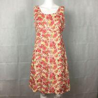 Laura Ashley Womens Linen Floral Dress Sz 10 Beige Pink
