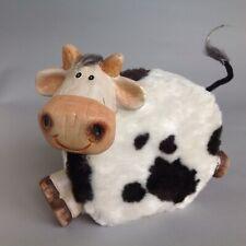 Vtg Ceramic Cow Bank With Faux Fur/Hide For Milk Money