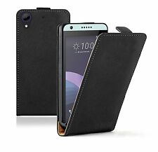 SLIM BLACK Leather For HTC Desire 650 Flip Case Cover Pouch  + 2 protectors