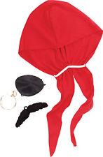 Pirate Fancy Dress Costume Kit Bandana Moustache Eye Patch Earring Jack Sparrow
