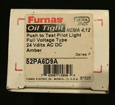 Furnas Oil Tight Push Test Pilot Light Full Voltage Type 24V ACDC Amber 52PA6D9A