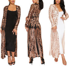 Plus Size Bohe Sexy Long Sequin Kimono Women Lace Cardigan Chiffon Blouse Coats
