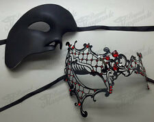 His & Her Couple Masquerade Mask, Black Themed Phantom Mask [Red Rhinestones]