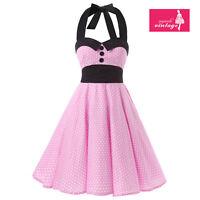 Women's Pink White Polka Dot Dress Vintage Buttons Halter 50s Rockabilly Dress