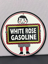 White rose gasoline oil sign man cave advertising  round