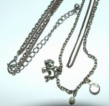 """20"""" Double Chain Bronze/Silver Tone Pendant Necklace~Elephant~Crystal~Pearl"""