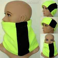 mens ladies NEON YELLOW / BLACK NECK WARMER FLUORESCENT fleece scarf ski HiVis