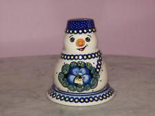 UNIKAT Polish Pottery Snowman Tea Light! Mila Pattern!