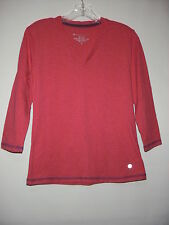 Bally Total Fitness Dry Wik Performance V-Neck Tee Pink 62%Cotton Size S