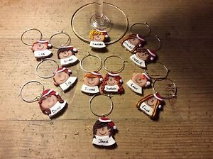 Personalised Christmas decoration wine charm Place settings One only Xmas table