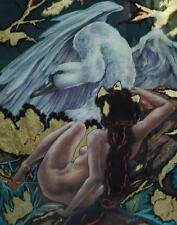 Beautiful Original Pastel on Paper Leda and The Swan by NC Artist Louis Bishop