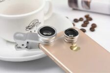 Macro Fish eye Wide Angle Photo Silver Clip Lens For Mobile Phone Camera Set Kit