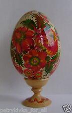 Folk Art Ukrainian Wooden Easter Egg Pysanka + Stand Petrykivka paintin 3