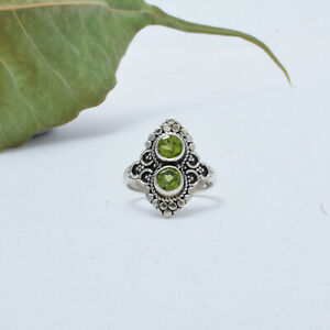 Peridot Ring 925 Sterling Silver Ring Statement Ring Handmade Ring  A-186