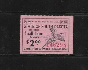 State Hunting/Fishing Revenues: SD; 1960 Small Game Stamp SDSG-1 ($2) - Used