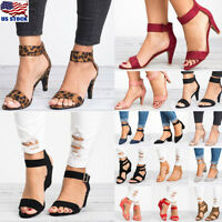 Women's Low Block Heel Open Toe Sandals Ankle Strap Work Smart Party Shoes Size