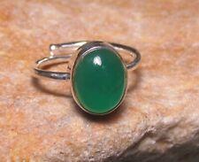 Sterling silver GREEN ONYX adjustable ring UK L/US 6. Gift bag.