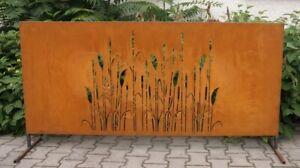 Edelrost Sichtschutzwand, Schilf, ca- 180x80cm, Querformat, Gartendeko