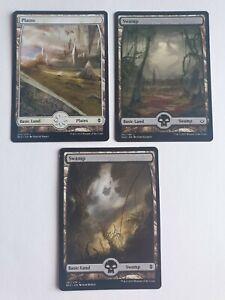MTG - Full Art Swamp-  Basic Land - Magic The Gathering x3
