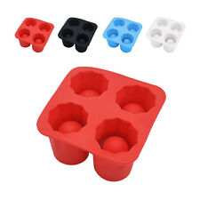 1* Safe Silicone 4-Cup Shaped Ice Cube Shot Glass Freeze Mold Maker Tray Drink