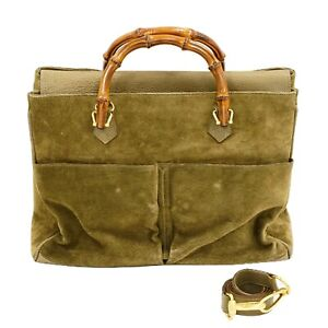 GUCCI Bamboo Suede 2way Tote Shoulder Satchel Hand Bag Khaki Gold Italy