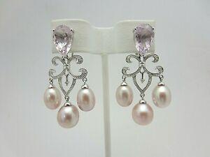 New 14K White Gold Amethyst Diamond and Pearl Earrings Chandelier Style Dangle