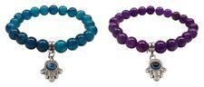 Set of 2 bracelets elastic beads turquoise & purple, hand of fatima