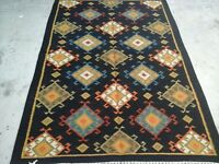 Vintage Traditional Turkish Wool Kilim Rug 5x8 ft Aztec Boho Large Carpet