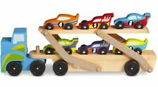 Melissa & Doug RACE CAR CARRIER Wooden Push Along Vehicle Kids Toy/Gift BN
