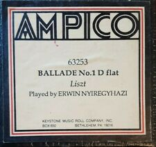 BALLADE NO. 1 IN D FLAT BY LISZT AMPICO RECUT REPRODUCING PIANO ROLL