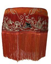 Womens Belly Dance/Tribal/Costume Red& Orange Embroidered/Embelished Fringe Belt