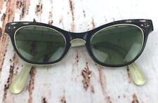 True Vintage Cat Eye Prescription Glasses Frame Black Bakelite Lucite France 50s