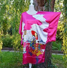 Déshabillé chemise de nuit caftan Taille unique 38 ↔️ 50 fushia blanc 2 Chinois