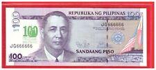 JG 666666 2012 / 2011 PHILIPPINES 100 peso 100 Years DE LA SALLE Solid Number